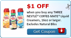 Save $1 off any three Nestle Coffee-Mate creamers!